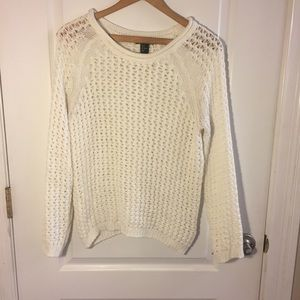White Chunky Open Knit Sweater